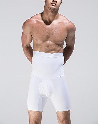 Panegy Herren Body Shaper Boxershorts Figurformende Unterwäsche Unterhose mit Bauchweg Effekt Sport Training Funktionsunterwäsche Weiß Schwarz M-XL Weiß