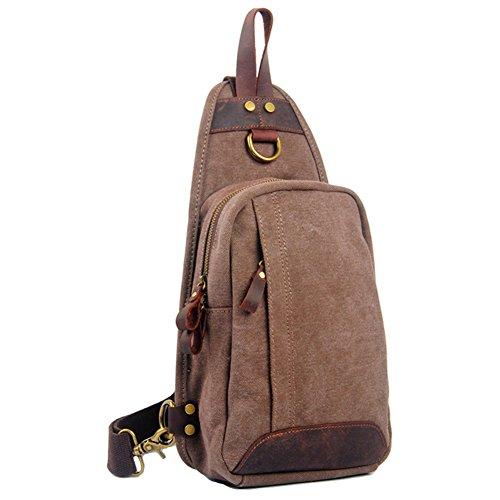 GSPStyle Unisex Canvas Leder Brusttasche Herrentasche Freizeittasche Reißverschluss Schultertasche Sporttasche Kaffebraun