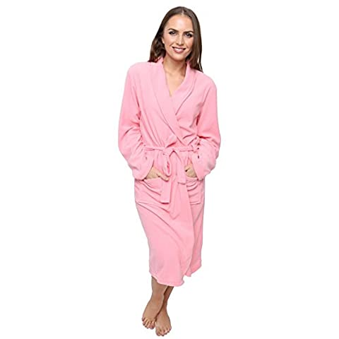 Women's Polar Fleece Robe Dressing Gown, Super Soft, 3 Sizes, Winter Spa Gift, 10-12 Pink