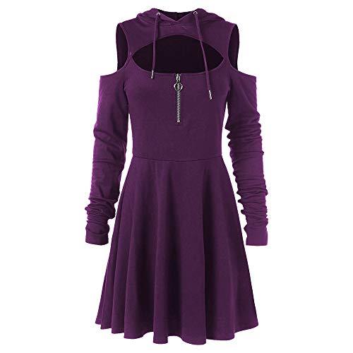 leid Mode Frauen kalte Schulter offene Schulter langes Hülsen mit Kapuze Schwingen Reißverschluss Kleid ()