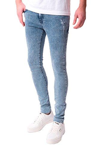 Seven Series Balvet Hommes Jeans Moulant Neuf Délavé Jean Délavé A L' Acide Pantalon Bleu Délavé