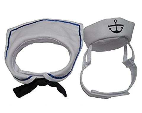 Dogs Kingdom Cat Dog Sailor Costume Hat Navy Tie Pet Sailor Costume Set White One Size