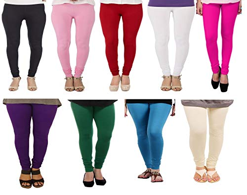 KOROSHNI 9 Multicolor Cotton Lycra Women\'s Leggings (9 Combo Green_Pink_Baby Pink_Black_Red_Sky Blue_Chick_Purple_White)