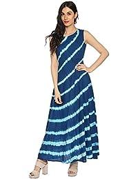 Amayra Women's Cotton Sleeveless A-Line Kurti (Blue)
