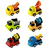 Munchkin Land Mini Push Pull Back Car Toy Construction Truck Set Play Vehicle Game Excavator Cranes Mixers Dumper Truck With Cute Smile Face 6 Pcs For Kids Boys Children Car Toy Set