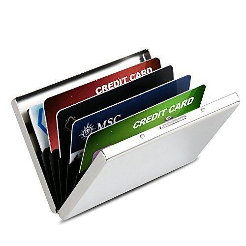 Kreditkartenetui, HOMETEK Ultra dünnes Metall mit RFID-Schutz Kreditkarteninhaber, Visitenkarten Etui bis zu 6 Karten für Damen und Herren