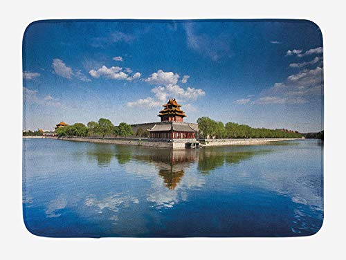 Ancient China Bath Mat, Historical Architecture Imperial Palace with Trees Sea and Blue Sky, Plush Bathroom Decor Mat with Non Slip Backing, 23.6 W X 15.7 W Inches, Blue Green Brown (Rv-monster-truck)