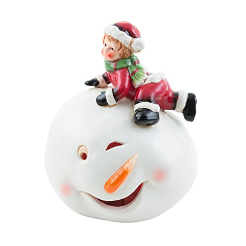 HEITRONIC Beleuchteter LED Schneemann ERIK Keramik Keramikfigur Weihnachten beleuchtet