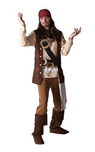 Rubie 's Offizielles Disney Captain Jack Pirat, Erwachsene Kostüm-Standard bis 106,7cm Brust (Captain Jack Sparrow Kostüm Für Erwachsene)