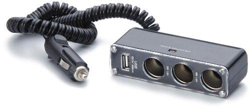 Unitec 77100 Auto 3-fach Steckdose mit USB 2.0, Kabel 2 m
