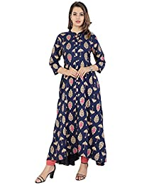 PURE COMFORT Women's Cotton Full Flare Party Wear and Casual Wear Long Kurti.