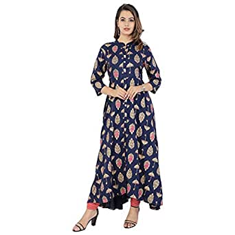 PURE COMFORT Women's Cotton Full Flare Party Wear and Casual Wear Long Kurti For Women.
