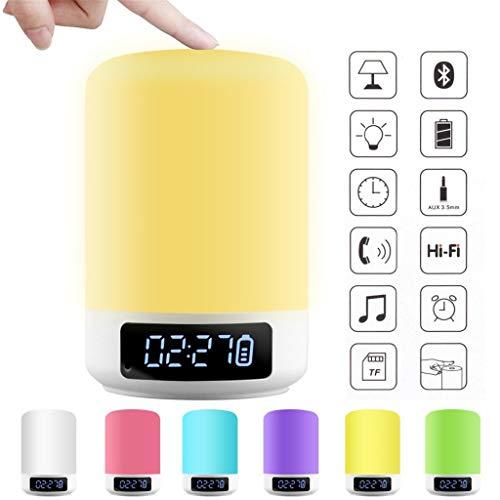 Hengzi Wecker Bluetooth Lautsprecher Touch Bunte LED aufwachen Nachtlicht Nachttischlampe Outdoor Audio Tischlampe Geeignet für Zuhause Schlafzimmer Camping Party Bk-audio