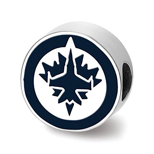 Lex & LU logoart Sterling Silber Winnipeg Jets Jet auf Maple Leaf in Kreis emailierten extrudiertem Logo Bead Winnipeg Jets-logos