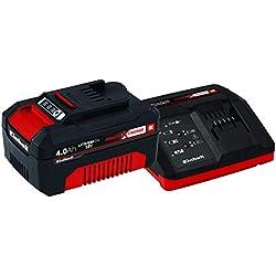 Einhell Starter Kit Power X-Change (18 V / 4,0 Ah, Lithium-Ion, 1 chargeur + 1 batterie, Temps de charge : 80 min, Témoin de niveau de charge)