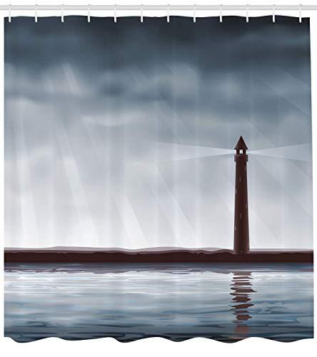 tgyew Lighthouse Shower Curtain, Foggy Atmosphere Marine Life Navigation Journey Seascape Digital Style, Fabric Bathroom Decor Set with Hooks, 66x72 inches Extra Long, Chocolate Bluegrey 66 Chocolate Mold
