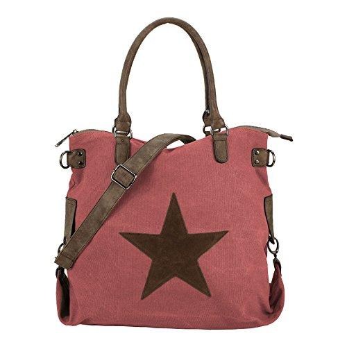 Starbag, borsa shopper in tela, motivo: stelle, 45x 37 cm(larghezza x altezza) Rosa