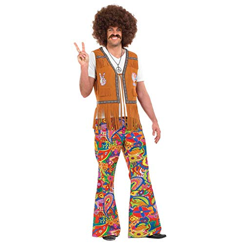 Fun Shack Damen Costume Kostüm, Mens Paisley Hippie Flares, m
