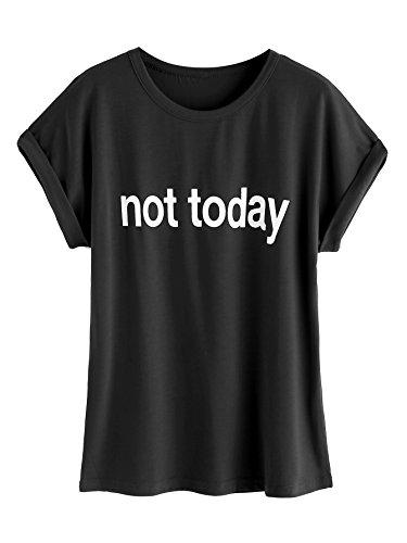 ROMWE Damen Top mit Spruch Buchstaben Sommer T Shirt ''not today'' Schwarz L