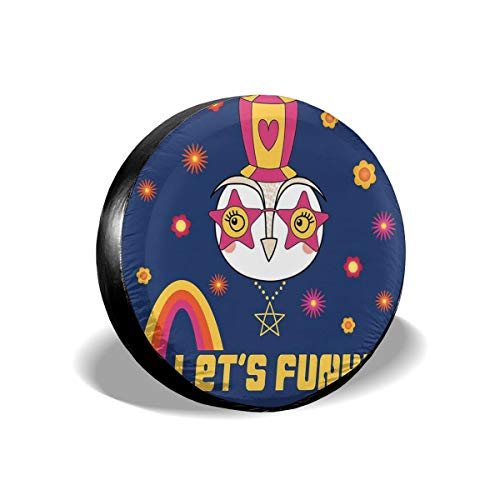 ErwangGo Tire Cover Wheel Covers,Cartoon Owl In A Funky Hat Star Shaped Glasses Flowers Rainbow and Typography,for SUV Truck Camper Travel Trailer Accessories(14,15,16,17 Inch) 14 -