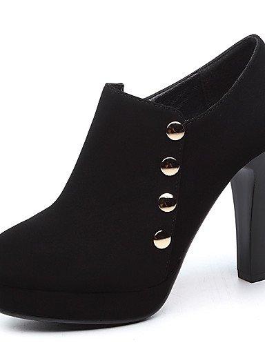 WSS 2016 Chaussures Femme-Mariage / Habillé / Soirée & Evénement-Noir / Bleu-Talon Cône-Talons-Chaussures à Talons-Similicuir black-us5 / eu35 / uk3 / cn34