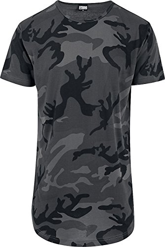 Urban Classics Herren T-Shirt Camo Shaped Long Tee, Mehrfarbig (Dark Camo 784), Small (Camo Tee Fashion)
