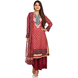 Biba Women's Straight Salwar Suit (SKD4847_Wine_34)
