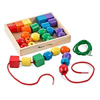 """Melissa & Doug Primary Lacing Beads, Developmental Toys, Easy to Assemble, 30 Beads and 2 Laces, 1.5"""" H x 7.75"""" W x 9.25"""" L"""