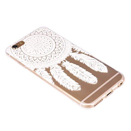 Coque iPhone 6S, SpiritSun Housse Étui TPU Silicone Clair Transparente Ultra Mince Souple Douce Coque pour Apple iPhone 6 6S (4.7 pouces) avec Motif Tribal - Lotus Fleur Bleu Fleur Mandala