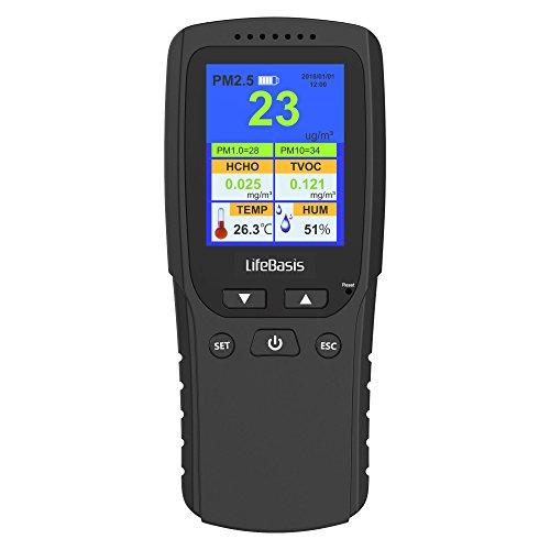 LifeBasis Formaldehyde messgerät Hydrometer Feuchtigkeit Temperatur und Luftfeuchtigkeitsmesser Feinstaubmessgerät Digitales Formaldehyde Detektor HCHO PM2.5 PM1.0 PM10 TVOC TEMP AQI Tester Thermo Hygrometer Raumluftüberwachung Portable Luft Qualität Monitor Messgerät