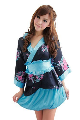 Cute! Set of 2 pink / black kimono / yukata dress cosplay costume shiny floral (japan (Cute Kimono Kostüme)