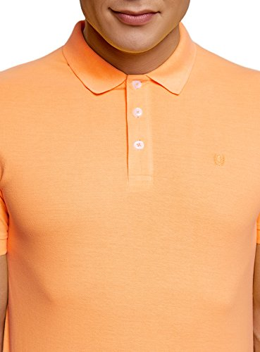 oodji Ultra Herren Pique-Poloshirt Basic Orange (5500N)