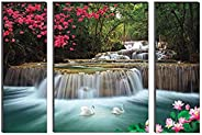 SAF 'Waterfall Nature' UV Textured Painting (Synthetic, 24 inch x 18 inch, S