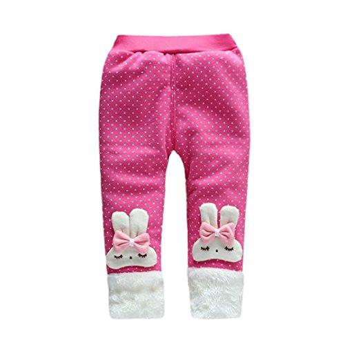 Knit Fleece-hose (Hirolan Modisch baby Hose Jungen Mädchen Wärmer Hose Kinder Karikatur Bowknot Hose Kinder Winter Baumwolle Gamaschen strampler (90cm, Rosa))