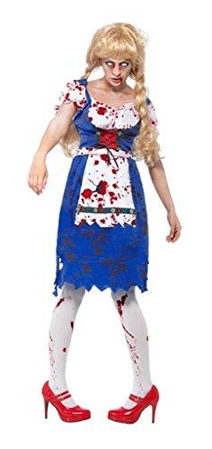 Dorothy Kostüm Zombie - Damen Zombie Dorothy Bayerische Oktoberfest Dead Bier Mädchen Halloween Kostüm UK 8-18 - Blau, 8/10