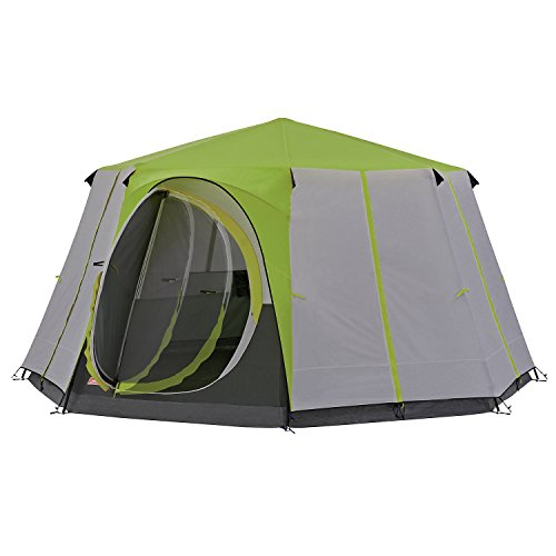 Coleman Tent Cortes Octagon, 6 to 8 man Festival tent, large Dome Tent with full standing head height, 100% waterproof Family Camping Tent with sewn in groundsheet, Green