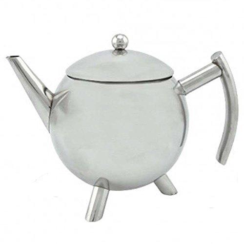 Teekanne mit patentiertem Tropfstop, Edelstahl glänzend, 1 Liter, Wärmeisolierender Edelstahlgriff, Teebereiter, Kanne …