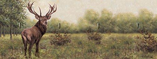 Artland Schlüssel-Brett mit Motiv bedruckt auf Holz mit 4 Haken A. Heins Hirsch Tiere Wildtiere Hirsch Malerei Grün 14,8 x 40 x 1,6 cm