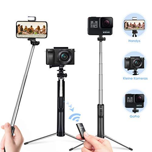 luetooth Trépied Avec Télécommande Rechargeable et Lumière d'appoint Selfie Stick Monopode Pour iPhone XS Max X 8 7 6 Galaxy S10 S10+ S9 S8, Huawei Smartphone Android etc ()