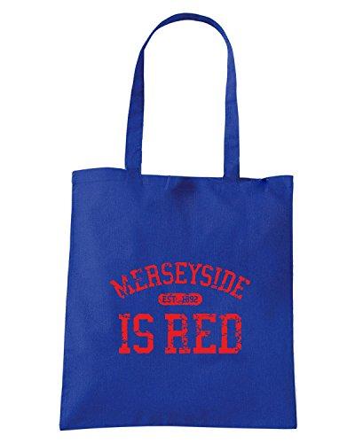 T-Shirtshock - Borsa Shopping WC0466 LIVERPOOL T-SHIRT - MERSEYSIDE IS RED Blu Royal