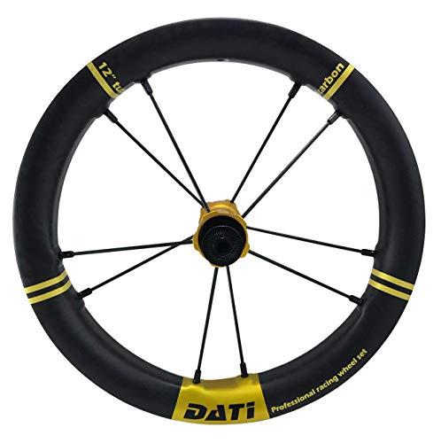 DATI XR-LINE Japan Limited Edition Push Kids Balance Bike Wheels Carbon Rim12 with CeramicSpeed Bearing (Gold, BIXBI PUKY: 90 * 10MM)