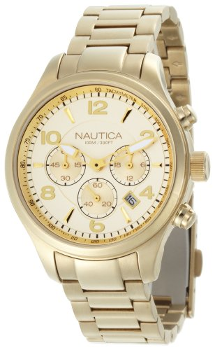 Nautica Women's N20061M Gold Stainless-Steel Quartz Watch with Gold Dial