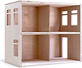 Puppenvilla Puppenhaus aus Holz 2 Etagen Moderne Puppenstube, DIY Holzspielzeug