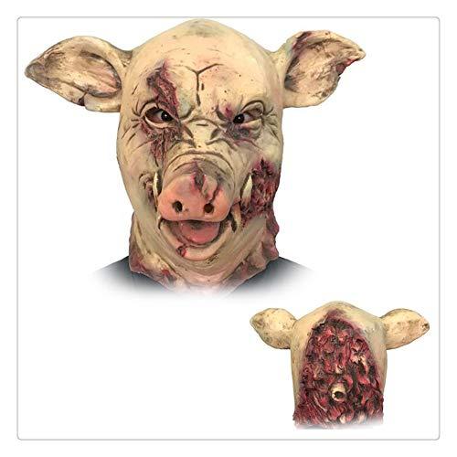 Z-one 1 Gruseliges Tier-Kostüm aus Latex für Halloween, Cosplay, Requisiten, blutiges Schweinekopf, Metzger, Horror für Erwachsene (Blutige Requisiten Halloween Diy)