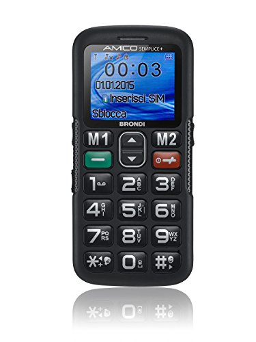 "Brondi AMICO SEMPLICE PLUS 1.8"" Black - mobile phones (Bar, Dual SIM, 4.57 cm (1.8""), Bluetooth, 700 mAh, Black)"