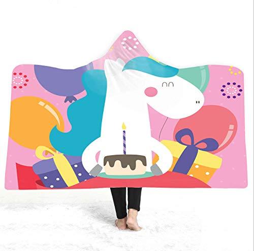 Geburtstagswünsche Einhorn Erwachsene Kinder Decke Mit Kapuze Winter Weich 3D Plüsch Umhang Digital Bedruckter Kappen Deckenumhang Verdickte Doppelschicht-130 * 150
