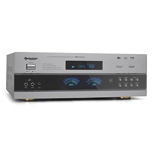 auna AMP-5100 • Heimkino System • 5.1-Kanal-Surround-Receiver • HiFi • Surround-Verstärker • 1200 Watt maximale Leistung • 2 x frontseitiger Mikrofon-Eingang • 2 x Stereo-Cinch Eingang • 1 x Klinke-Eingang • Equalizer • Mikro-Effekte • Fernbedienung • silber Test