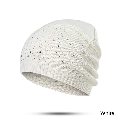 Mdder Innocent Urinal Cap warm hat Casual Winter hat Diamond Knit hat Winter cat Lady Knit Cap - F -