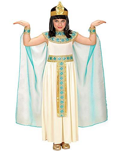 Kinder Mumie Mädchen Kostüm - Nerd Clear Cleopatra Kostüm für Kinder | 4-teilig: Kleid mit Gürtel, Armbänder, Stirnband, Umhang | ideal für Fasching & Karneval: Größe: 116