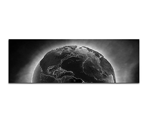 Tela foto come Panorama Nero/Bianco 120x 40cm pianeta terra fuoco Desaster